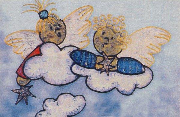 Новогодний рисунок - ангелы