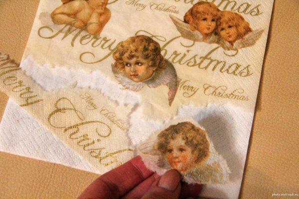 Новогодний декупаж - отделяем фрагмент салфетки